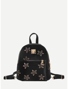 Star Embroidered Velvet Backpack by Romwe