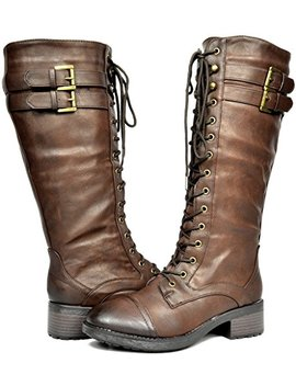 Dream Pairs Women's Georgia Brown Faux Leather Pu Knee High Riding Combat Boots   8.5 M Us by Dream Pairs