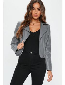 Grey Ultimate Pu Biker Jacket by Missguided