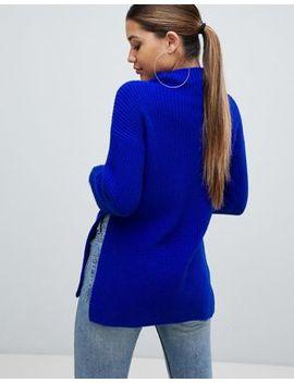 Pretty Little Thing – Hellblauer Pullover Mit Hohem Kragen Und Seitenschlitz by Asos