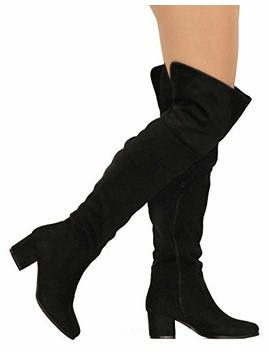Mve Shoes Womens Over The Knee Stretch Boot   Trendy Low Block Heel Shoe   Sexy Over The Knee Boot   Easy Heel Boot by Mve Shoes