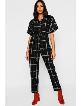 Horn Button Grid Check Pocket Jumpsuit by Boohoo