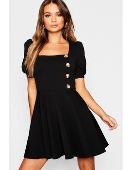 Puff Sleeve Button Down Skater Dress by Boohoo