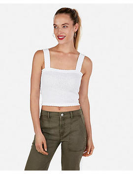 Solid Scallop Detail Cropped Sleeveless Sweater by Express