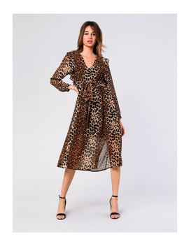 **Leopard Plunge Midi Dress By Glamorous by Topshop