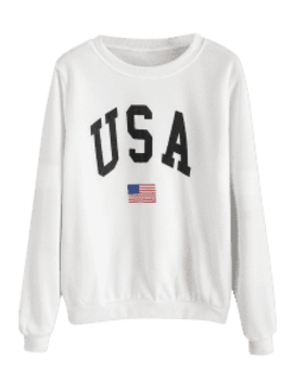 Usa Flag Graphic Sweatshirt   White M by Zaful