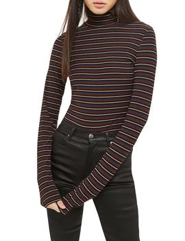 Metallic Funnel Neck Top by Topshop