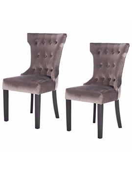 Giantex 2 Pcs Tufted Dining Chair Upholestered Armless Accent Side Chair Home Kitchen Furniture, Grey by Giantex
