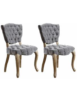 Best Selling Lane Tufted Fabric Dining Chair, Grey, Set Of 2 by Best Selling