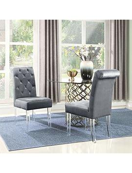 Iconic Home Sharon Dining Side Chair Button Tufted Velvet Upholstered Acrylic Legs (Set Of 2), Modern Contemporary, Grey by Chic Home