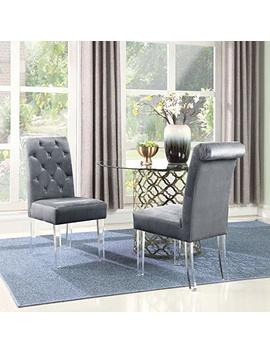 Iconic Home Metzger Dining Side Chair Button Tufted Velvet Upholstered Acrylic Legs (Set Of 2), Modern Contemporary, Grey by Iconic Home