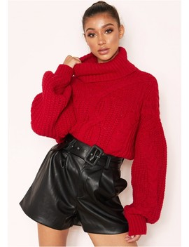 Hana Red Cable Knit Roll Neck Jumper by Missy Empire