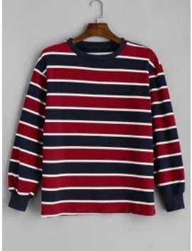 Striped Tricolor Boxy Sweatshirt   Multi by Zaful