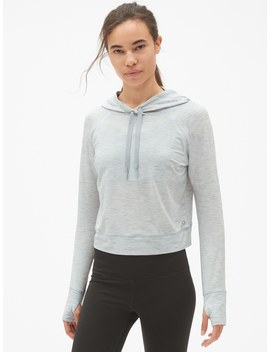 Gap Fit Breathe Crop Pullover Hoodie by Gap
