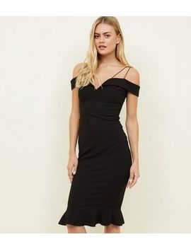 Ax Paris Black Off The Shoulder Fishtail Dress by New Look