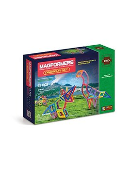 Magformers Dinosaur Set (55 Pieces) Magnetic Building Blocks, Educational Magnetic Tiles Kit, Magnetic Construction Stem Toy Set by Magformers