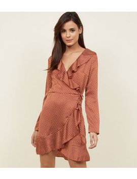 Parisian Rust Satin Spot Print Wrap Dress by New Look