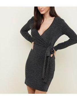 Blue Vanilla Black Glitter Chevron Wrap Dress by New Look