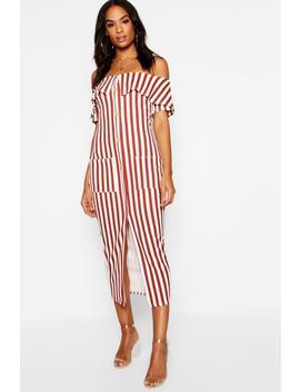 Tall Bardot Stripe Button Midi Dress by Boohoo