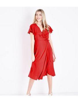 Red Ruffle Trim Midi Wrap Dress by New Look