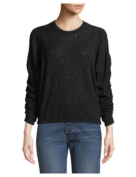 Itana Leopard Jacquard Pullover Sweater by Joie