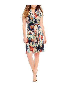 Short Sleeve Jersey Floral Print Wrap Dress by Leslie Fay