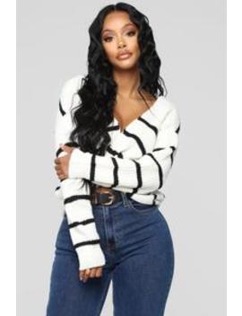 Falls Favorite Stripe Sweater   White/Black by Fashion Nova