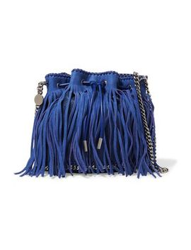 Fringed Faux Suede And Leather Bucket Bag by Stella Mc Cartney