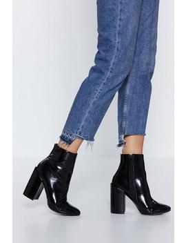 Crinkle Patent Block Heel Be Bump Ankle Boot by Nasty Gal