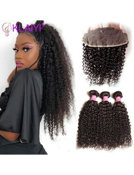 Klaiyi Hair Brazilian Curly Hair 13*4 Lace Frontal Closure With Bundles Remy Human Hair 3 Bundles With Frontal Closure by Klaiyi