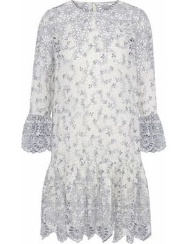 Gathered Printed Broderie Anglaise Mini Dress by Ganni