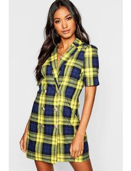 Button Front Checked Blazer Dress by Boohoo