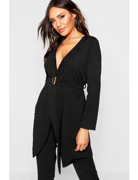 Tort Shell Belted Duster Jacket by Boohoo