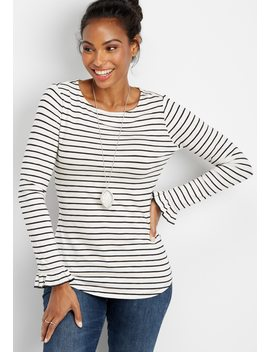 24/7 Basic Stripe Flutter Sleeve Tee by Maurices