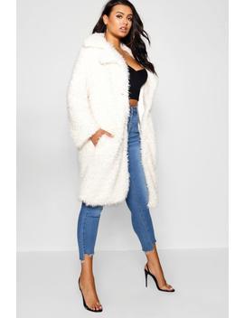 Plus Long Sleeve Faux Fur Coat by Boohoo