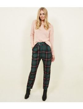Cameo Rose Green Check D Ring Belted Trousers by New Look
