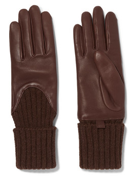 Leather And Ribbed Cashmere Gloves by Agnelle