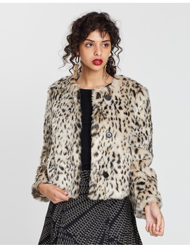 Cropped Snow Leopard Coat by J.Crew