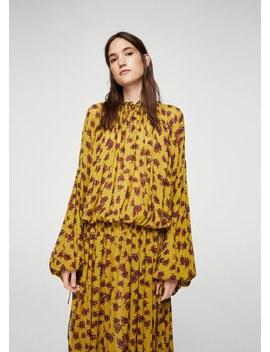 Langes Kleid Mit Relief Blumen by Mango