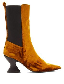 Point Toe Crushed Velvet Boots by Marques'almeida