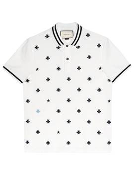 Cotton Polo With Bees And Stars by Gucci