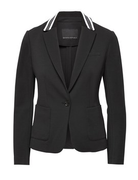 Classic Fit Ponte Contrast Collar Blazer by Banana Repbulic