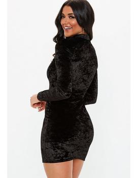 Black Velvet High Neck Mini Dress by Missguided