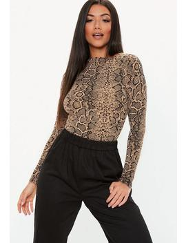 Tall Brown High Neck Long Sleeve Snake Print Bodysuit by Missguided
