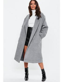 Grey Brushed Shawl Collar Midi Coat by Missguided