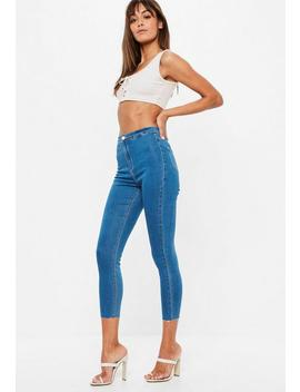 Petite Blue Vice High Waisted Skinny Jeans by Missguided