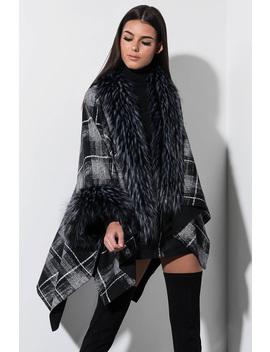 Material Girl Faux Fur Trim Poncho by Akira