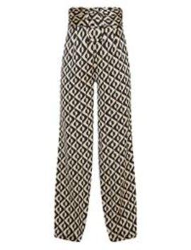 Petite Champagne Geometric Print Belt Detail Wide Leg Trouser by Prettylittlething