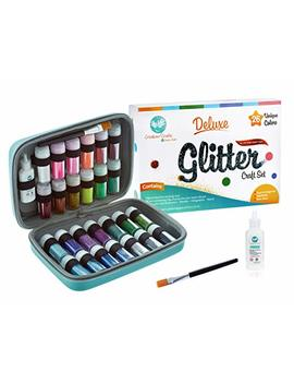 Extra Fine Glitter Deluxe Set   26 Unique Colors (Holographic, Iridescent, Neon, Pastel)   Include Shaker Jars, Glitters Glue, Brush And Case   Perfect For Artist To Sparkle Diy, Slime, Nails, Body by Creabow Crafts