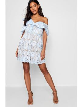 Lace Off The Shoulder Skater Dress by Boohoo